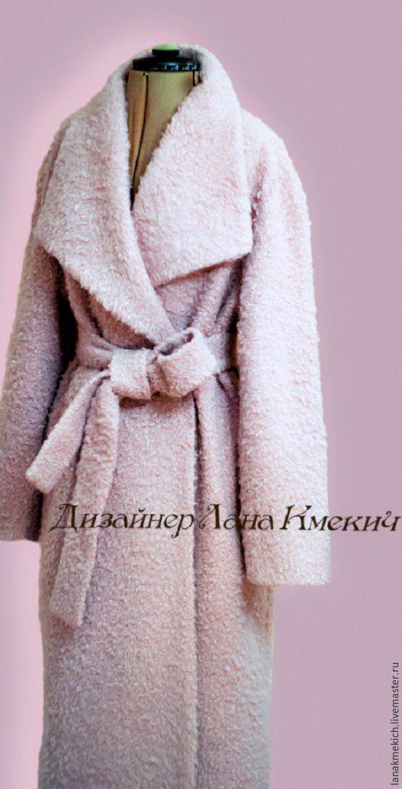 """Купить Пальто халат зимнее с утеплителем """"Новогодний Зефир"""" - бледно-розовый, однотонный, пальто розовое"""