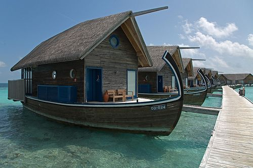 Maldive Islands Houseboats.  I could live on one of these, but where would I garden?  There is some space for container plants, but not enough.