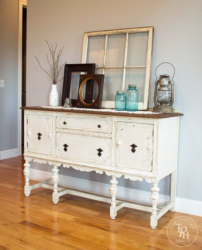 sideboard buffet hutch chalk paint makeover - Dining Room Sideboard Decorating Ideas