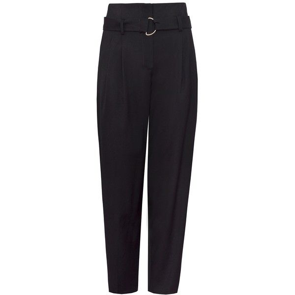 Black Belted High Waist Pants (£90) ❤ liked on Polyvore featuring pants, high waisted trousers, highwaist pants, high-waisted pants, high-waisted trousers and high-waist trousers
