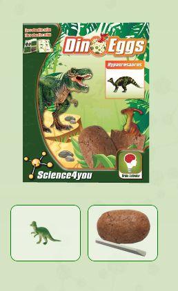 DINO EGGS - HYPACROSAURUS Descobre: - O habitat dos dinossauros - O que é a paleontologia - Que tipos de fossilização existem - As causas de extinção dos dinossauros - Características e curiosidades destes fantásticos seres pré-históricos
