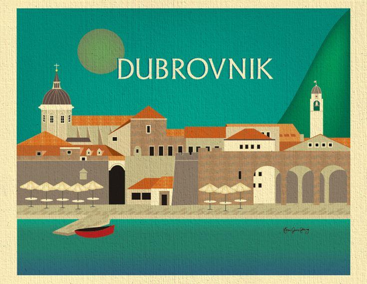 Dubrovnik Skyline Art Print, Dubrovnik Poster, Croatia art print, Dubrovnik Map,  horizontal Croatian Print, Loose Petals, style E8-O-DUBR by LoosePetals on Etsy https://www.etsy.com/listing/233284749/dubrovnik-skyline-art-print-dubrovnik