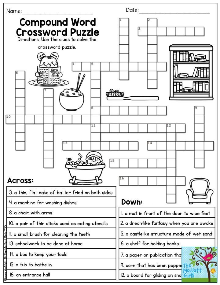 Compound Word Crossword Puzzle.  TONS of printables to keep children engaged and having FUN!