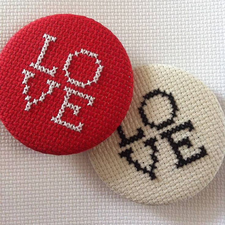 Oversized LOVE Cross Stitch Button Badge