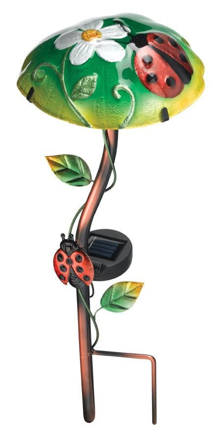 Ladybug Garden Stakes | MUSHROOM LADYBUG SOLAR STAKE YARD GARDEN LAWN DECOR    Ad#: