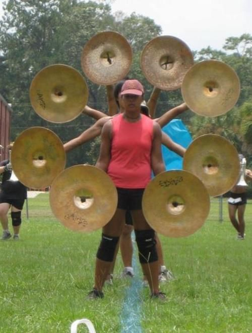 We should get our cymbals to do this next year as a visual. That, and have the bass drums do somersaults.