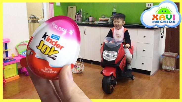 Easter egg hunt surprise eggs Kid rides motorbike Compilation by Xavi AB...