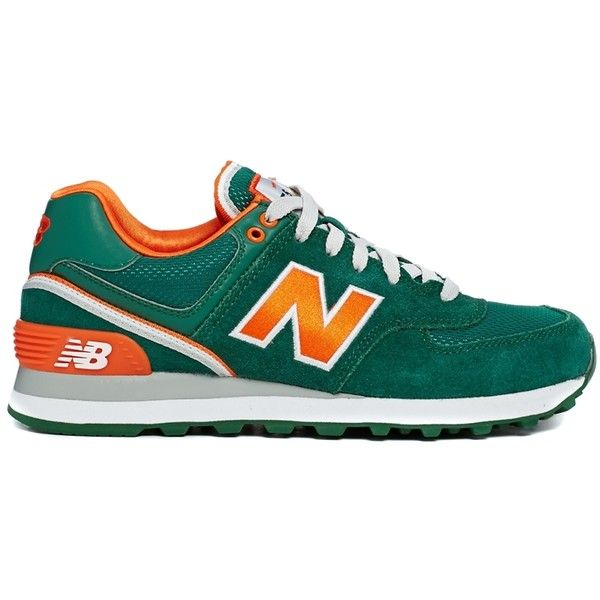 New Balance Green/Orange 574 Stadium Jacket Trainers (4.455 RUB) ❤ liked on Polyvore featuring shoes, sneakers, new balance, zapatillas, green, suede leather shoes, green shoes, grip shoes and breathable shoes