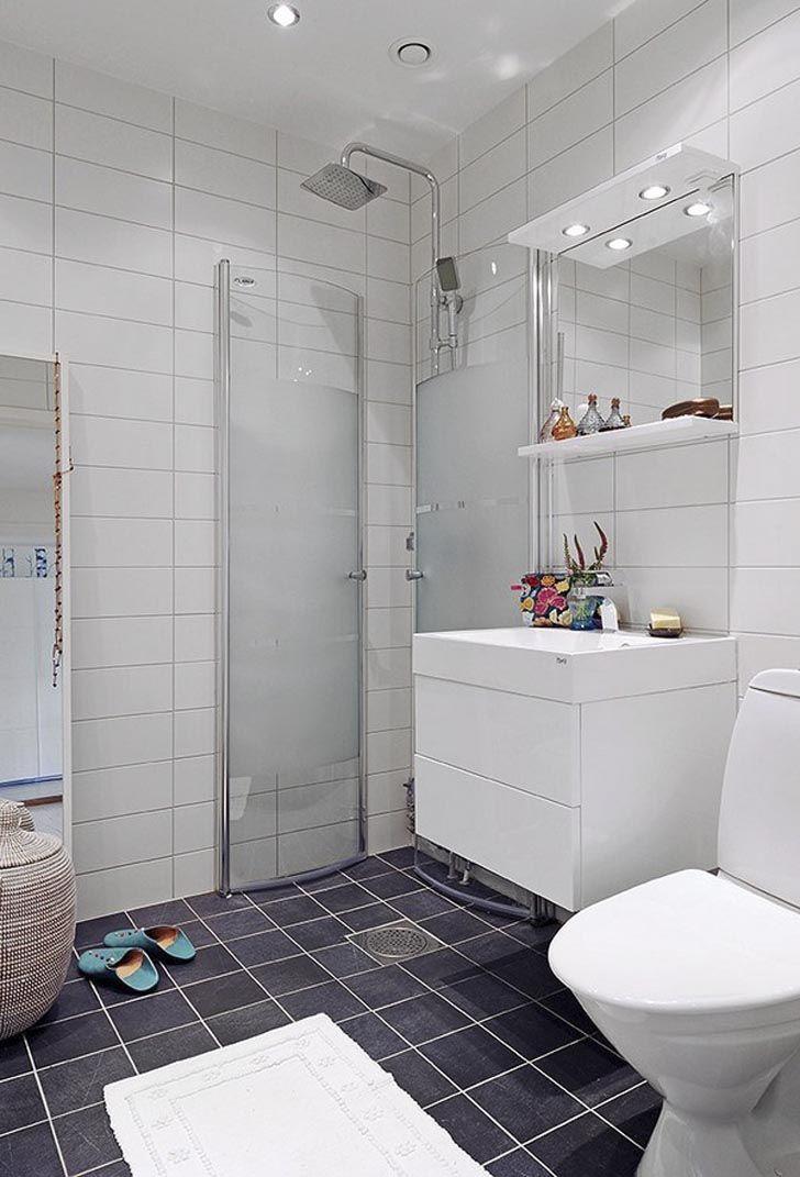 Scandinavian bathroom with open shower