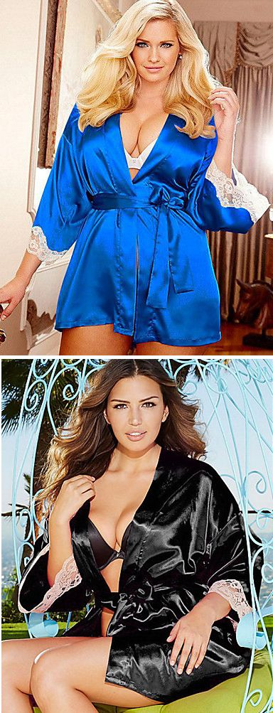 Shake your sexy curves in this elegant silk lace nightwear robe. Find it in bright blue and black colors at $12.99.