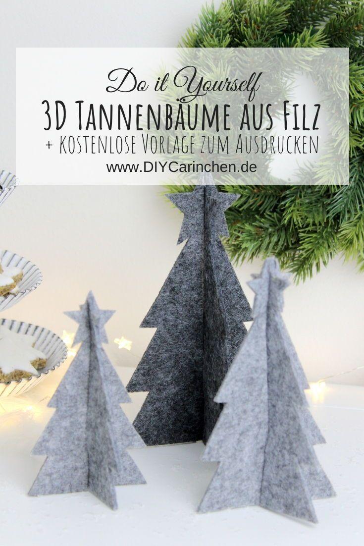 diy  3d tannenbaum aus filz einfach selber machen