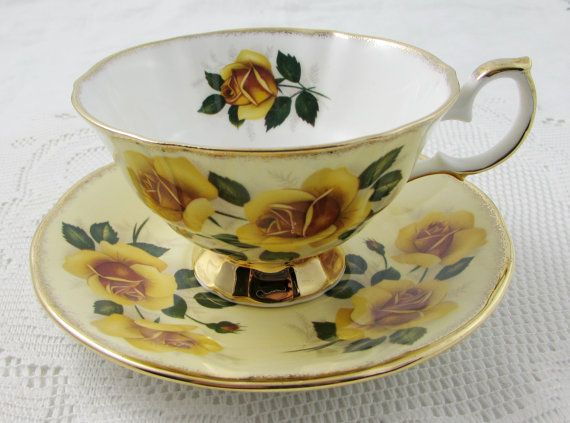 Vintage Yellow Elizabethan Tea Cup and Saucer with Yellow Roses, Bone China