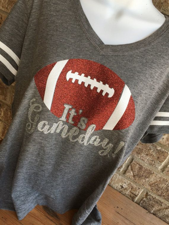 V Neck It's Gameday Glitter Football T-Shirt by MamaGlitter