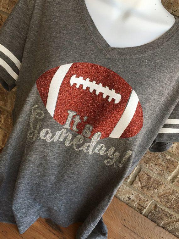 V Neck It's Gameday Glitter Football T-Shirt by MamaGlitter