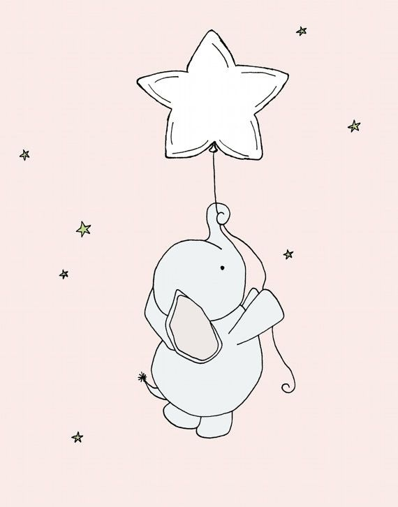 Custom Listing for Amanda, Nursery Art, Elephant Nursery Art, Nursery Decor, Elephant Art Print, Baby Elephant Star Balloon