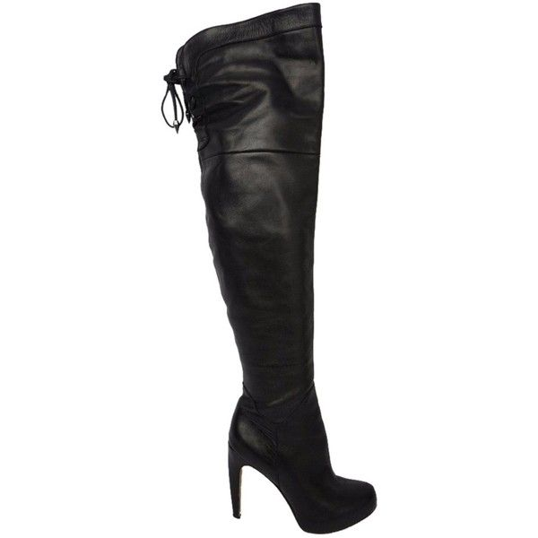 Pre-owned Sam Edelman Kayla Over The Knee Leather Black Boots ($235) ❤ liked on Polyvore featuring shoes, boots, black, thigh high platform boots, over the knee boots, black boots, thigh high leather boots and black thigh high boots