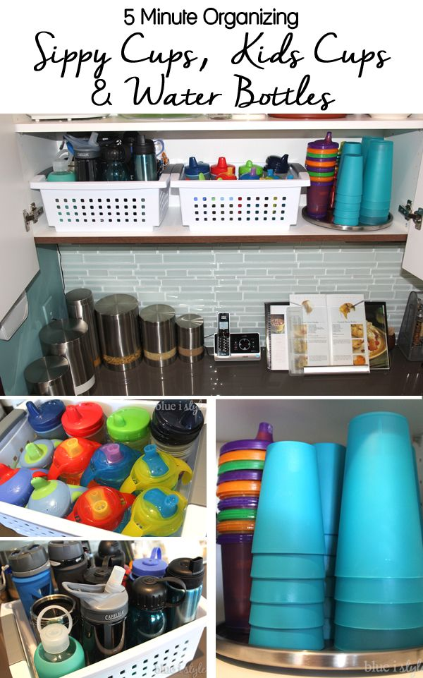 {five minute friday} Organizing Sippy Cups & Water Bottles :: Blue i Style