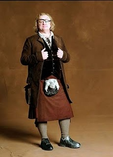 Alastor (Mad-Eye) Moody (played by Brendon Gleason) kilted up for Harry Potter and the Goblet of Fire (2005).