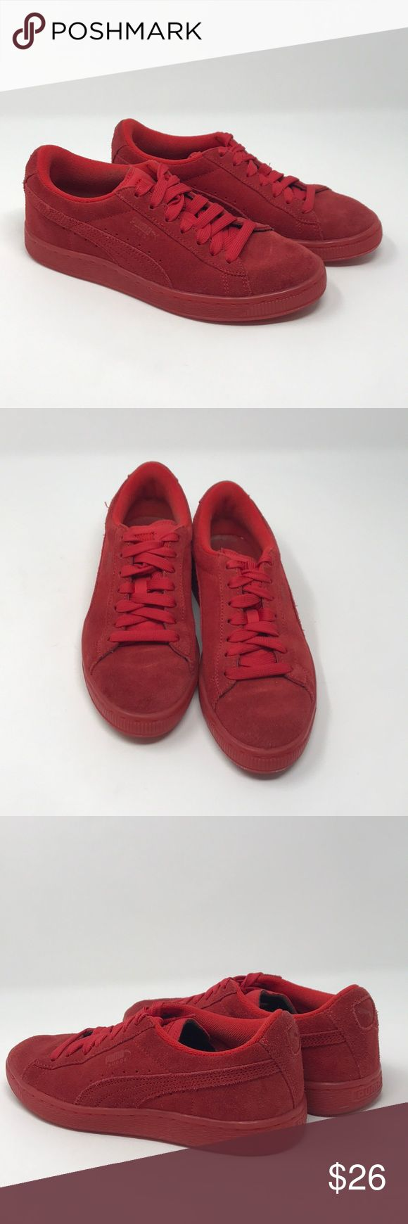Puma sneakers  red suede classics Puma sneakers red suede classic, gently worn, size 6.5C men, like 7.5-8 women puma Shoes Sneakers