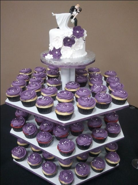 Purple cupcake wedding cake cakes Pinterest Wedding ...