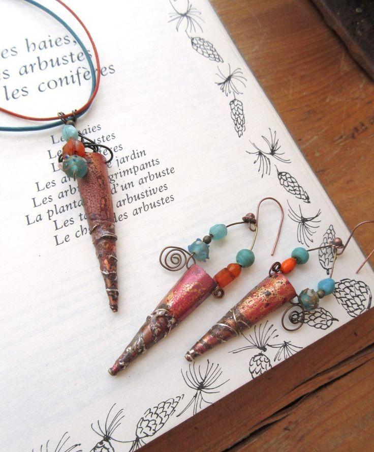 Une parure collier et boucles d'oreille primitive et urbaine chic : Courbes Magnétiques .... : Parure par les-reves-de-minsy