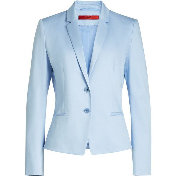 Hugo Cotton Blazer (21,295 INR) ❤ liked on Polyvore featuring outerwear, jackets, blazers, blue, blue cotton blazer, blazer jacket, cotton jacket, hugo and lapel jacket