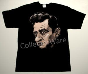 JOHNNY CASH cartoon CUSTOM ART UNIQUE T-SHIRT   Each T-shirt is individually hand-painted, a true and unique work of art indeed!  To order this, or design your own custom T-shirt, please contact us at info@collectorware.com, or visit  http://www.collectorware.com/tees-johnny_cash.htm