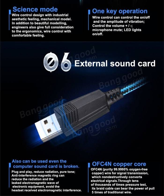KOTION EACH G2200 USB 7.1 Surround Sound Vibration Gaming Headphone Headset with Mic LED Light