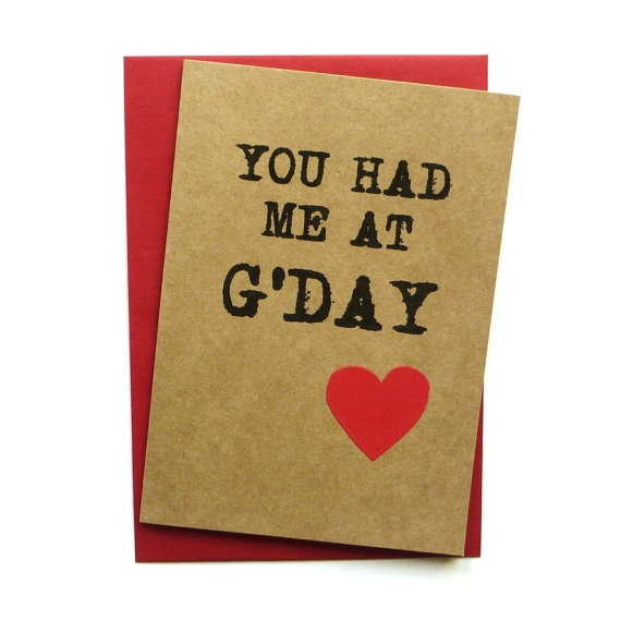 Card  You had me at G'day  Hand screen by linneaswedishdesign, $4.95 #australiana