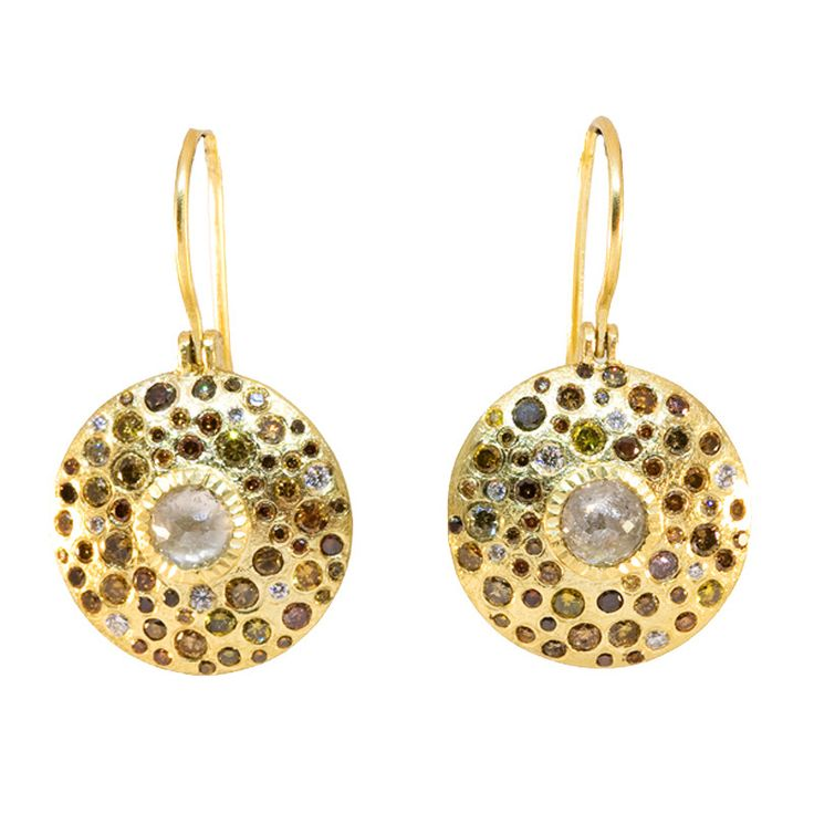 TRDE844-2: The unique one-of-a-kind earrings feature a round drop modern design. Centered in each earring is a round rose cut gray diamond surrounded by round brilliant cut autumn colored diamonds sca