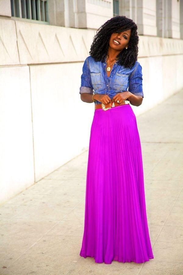 denim shirt purple maxi skirt fashion