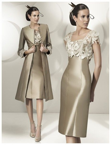 Sheath/Column Sleeveless Square Knee-Length Applique Satin Mother of the Bride Dresses