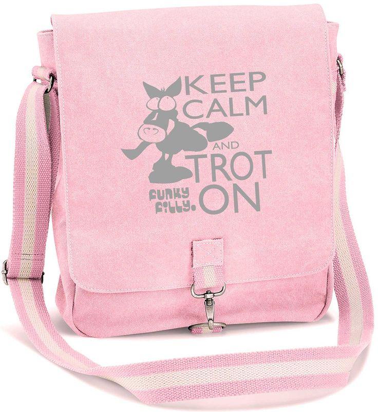 Keep Calm and Trot On Vintage Canvas Messenger Shoulder Bag Baby Pink