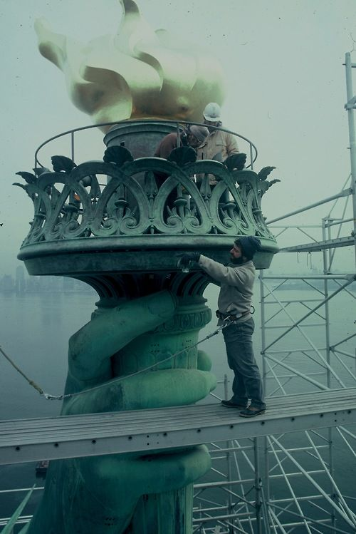 """The """"new"""" torch of the Statue of Liberty; the 1984 renovation restored the original design (replaced in 1916)"""