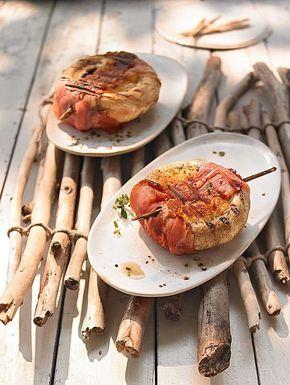 Champignons zum Grillen - mit Käse und Schinken