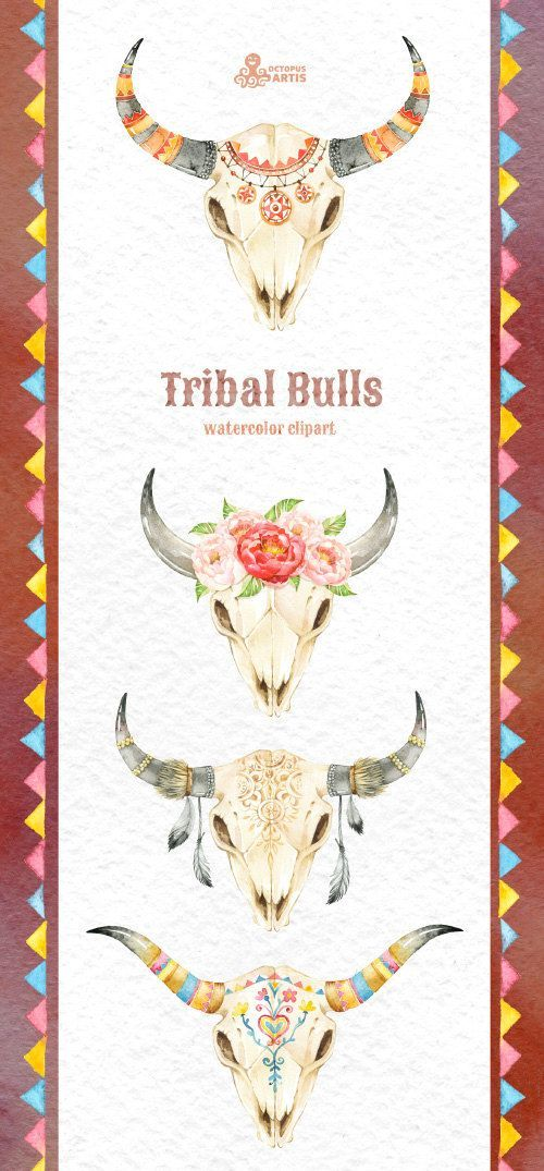 Tribal Bulls. Watercolor hand painted clipart. 4 by OctopusArtis