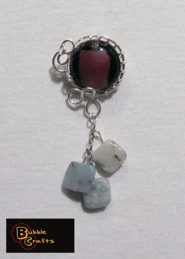 wire wrapped brooch with murano glass and amazonite beads | Bubble Crafts