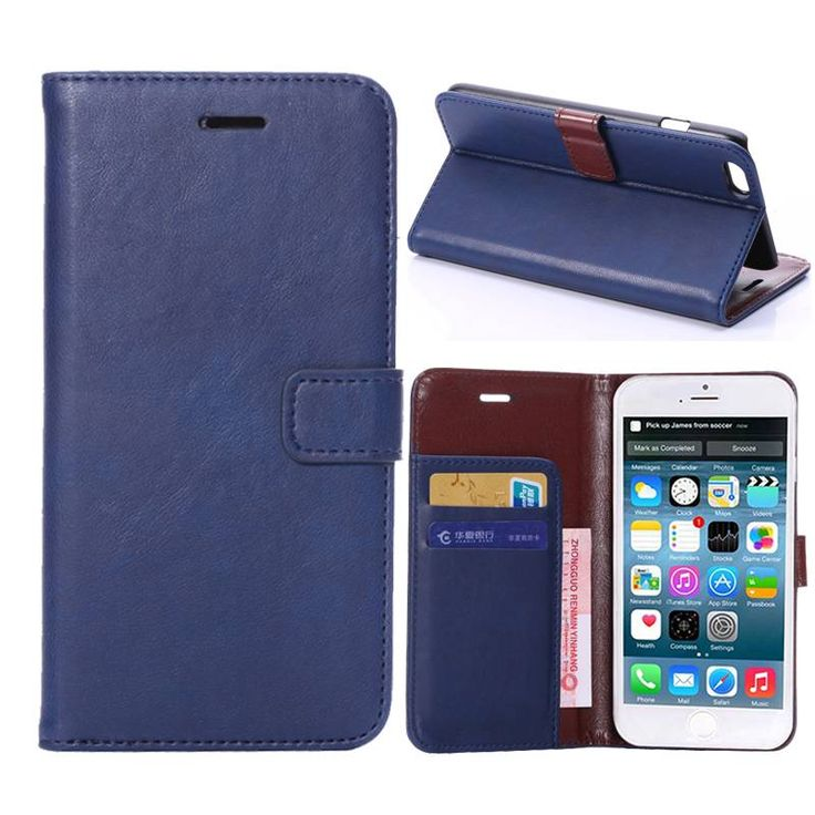Blauw faux lederen booktype hoesje voor iPhone 6 Plus