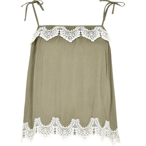 River Island Khaki green lace trim bow shoulder cami top ($52) ❤ liked on Polyvore featuring tops, cami / sleeveless tops, khaki, women, cami tank, lace trim tank top, tall tank, sleeveless tops and lace trim cami tank top