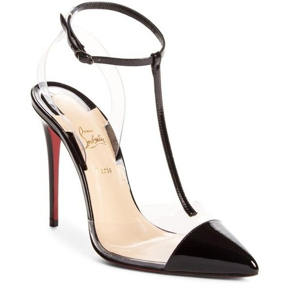 Women's Christian Louboutin Nosy Pvc T-Strap Pump (2.595 BRL) ❤ liked on Polyvore featuring shoes, pumps, black, t-strap pumps, black t strap pumps, black stiletto pumps, stiletto pumps and red sole shoes