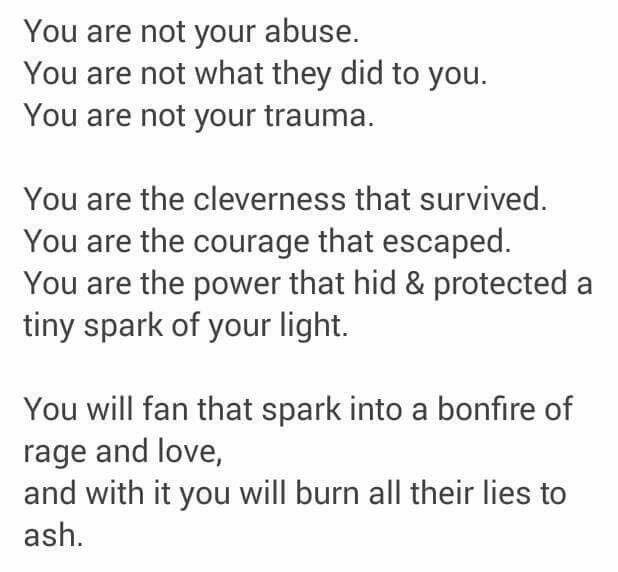 That spark in me never died. It may have dwindled to a dim light, but it can't be put out. My light is to shine upon others, but I must always remember-it is MINE and mine alone. No one can take that from me.