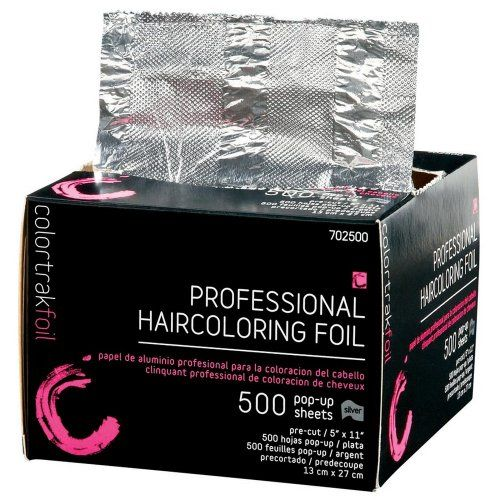 Colortrak Pre-Cut Foil Sheets 500 Count. Pre-cut, ready to use. Non-slip texture. For all hair coloring techniques. Colortrak Professional Foil features a dispenser box with cutting edge means less waste and foil be left unused. Pop-up dispenser box.