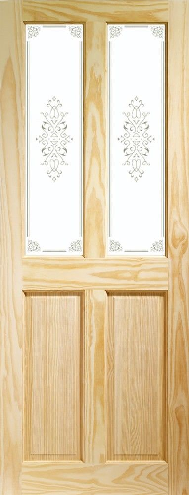 Victorian 4 Panel Internal Clear Pine Door with Campion Glass  Flat Image