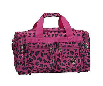 Rockland Luggage 19In Tote Bag Travel Duffle Carry On Freestyle Magenta Leopard
