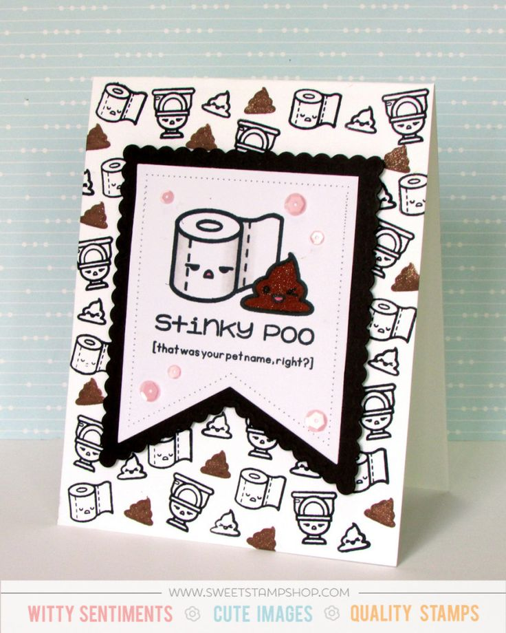 Stinky Poo Stamp Card - Sweet Stamp Shop May Release {ValByDesign, 2016}