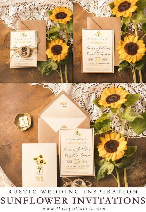 Wedding invitations with megnet and sunflowers #sunflowers #summerwedding #rusticwedding