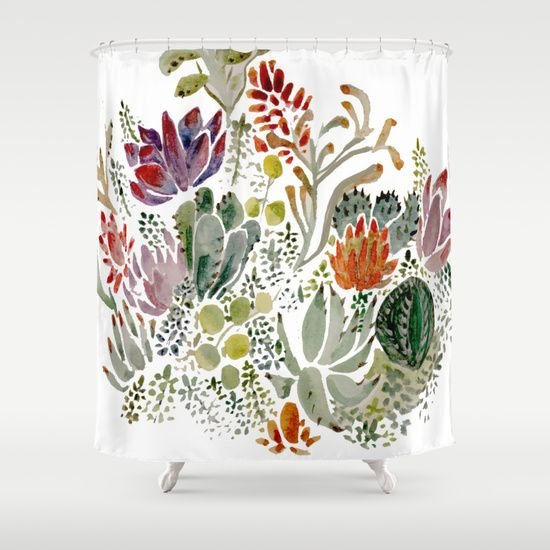 Buy Shower Curtains featuring Succulents  by Hannah Margaret Illustrations. Made from 100% easy care polyester our designer shower curtains are printed in the USA and feature a 12 button-hole top for simple hanging.