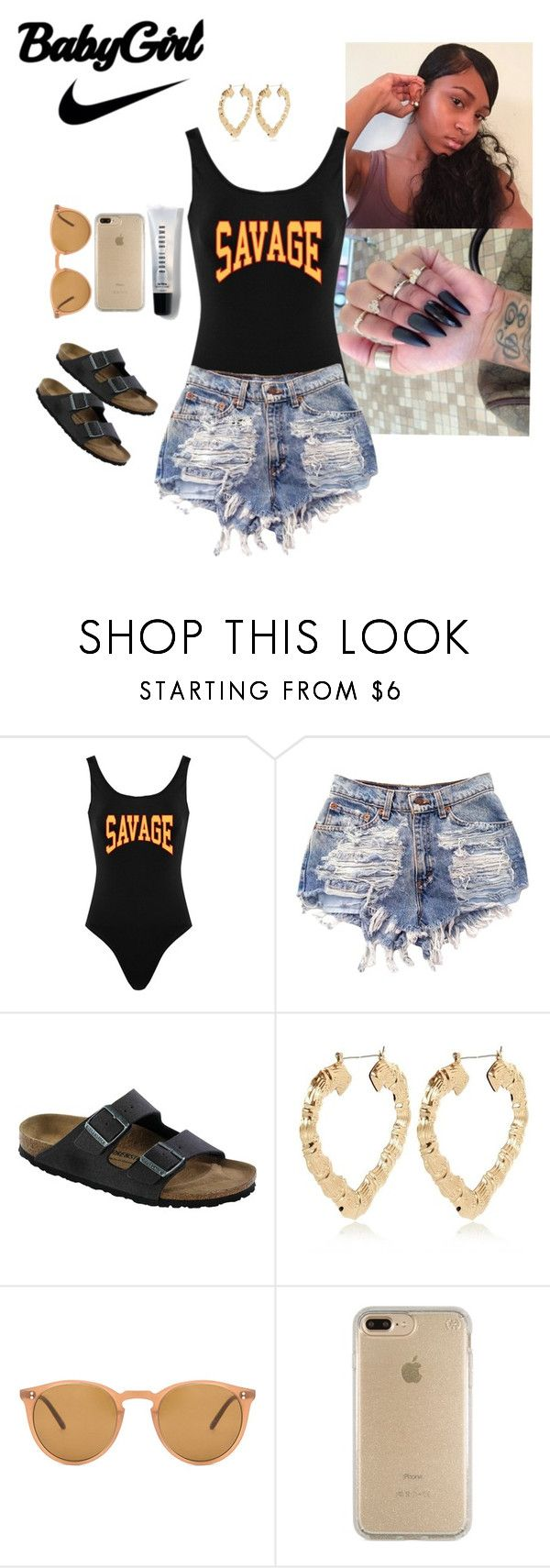 """#ALLSUMMER17"" by itskiahm ❤ liked on Polyvore featuring Birkenstock, River Island, Oliver Peoples, Speck and Bobbi Brown Cosmetics"