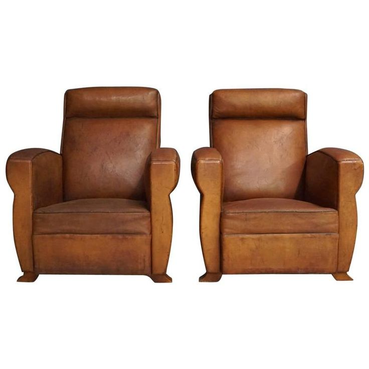 Pair of French Cognac Leather Club Chairs, 1940s | From a unique collection of antique and modern club chairs at https://www.1stdibs.com/furniture/seating/club-chairs/