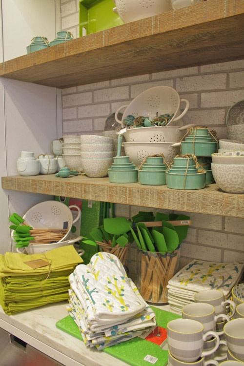 I'll take it all please.: Shelf Display, Middle Shelf, Colors Ov, Thick Wood, Wood And, Wood Shelves, Subway Tiles, West Elm
